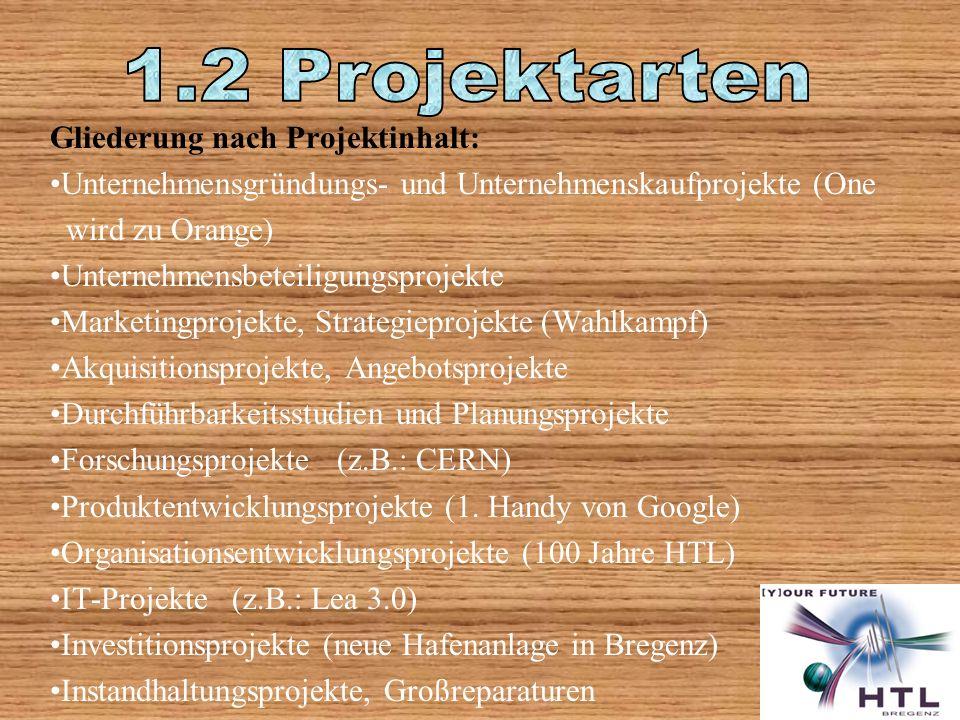 1.2 Projektarten Gliederung nach Projektinhalt: