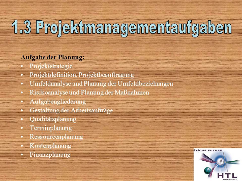 1.3 Projektmanagementaufgaben