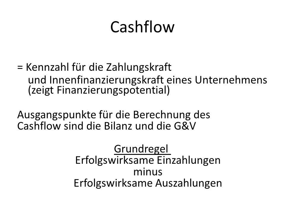 Cashflow = Kennzahl für die Zahlungskraft