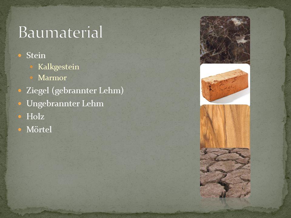 Baumaterial Stein Ziegel (gebrannter Lehm) Ungebrannter Lehm Holz