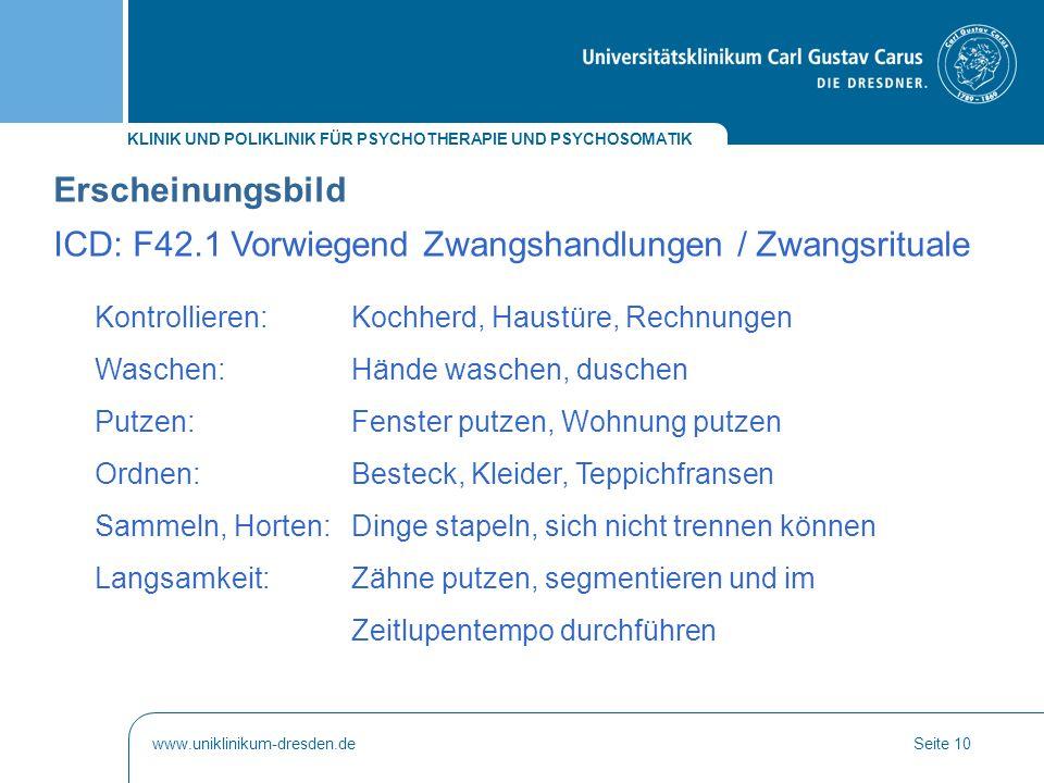ICD: F42.1 Vorwiegend Zwangshandlungen / Zwangsrituale