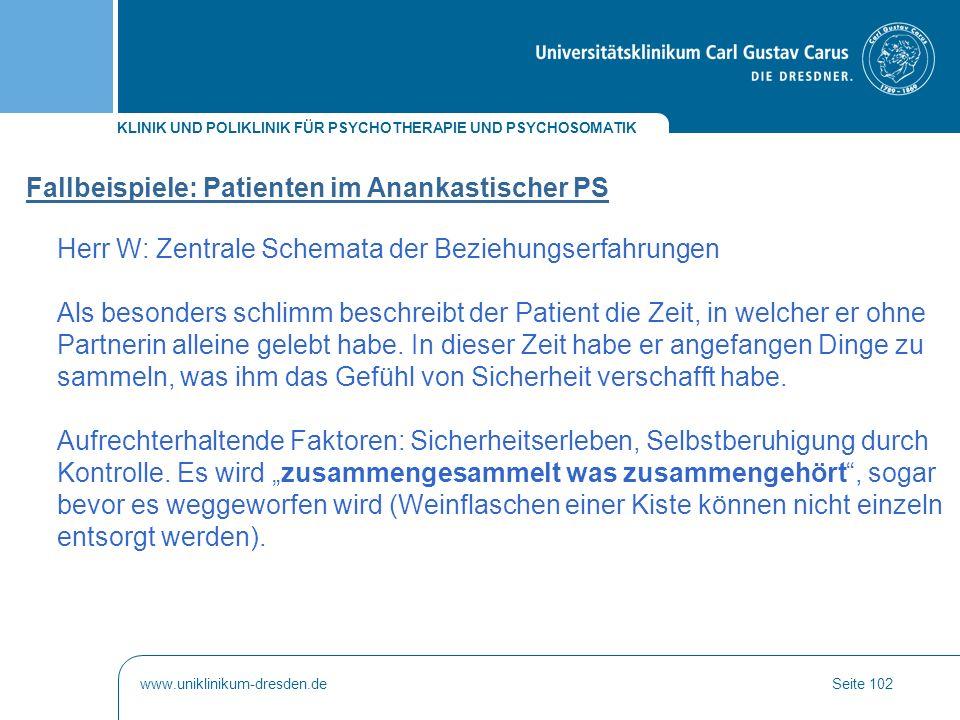 Fallbeispiele: Patienten im Anankastischer PS