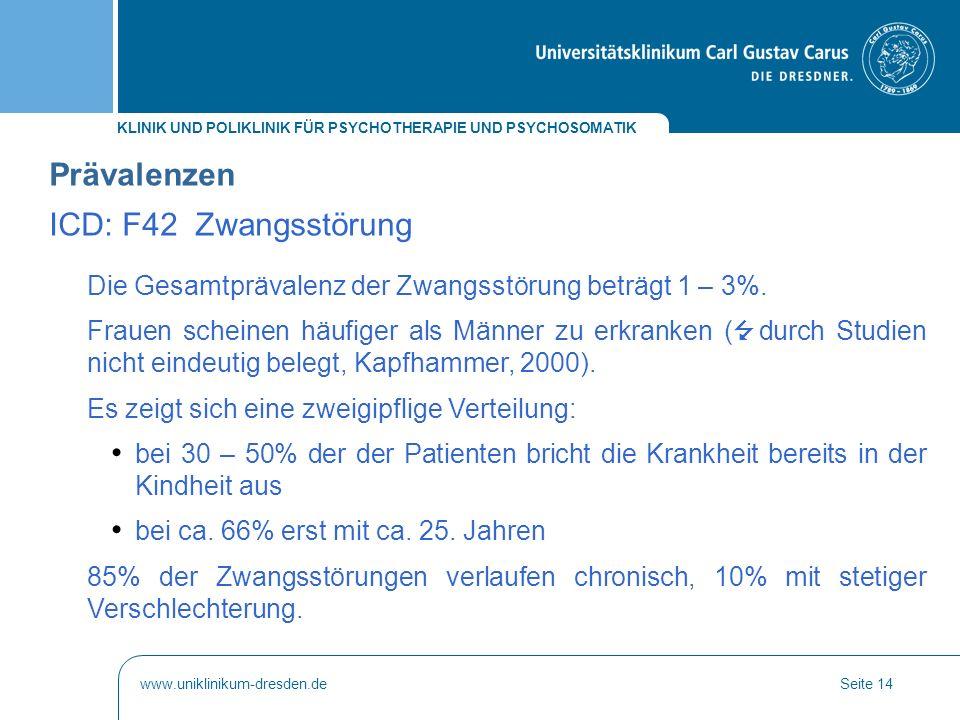 Prävalenzen ICD: F42 Zwangsstörung