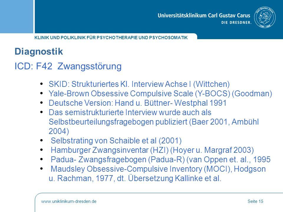 Diagnostik ICD: F42 Zwangsstörung