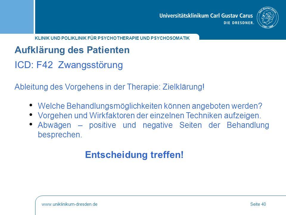 Aufklärung des Patienten ICD: F42 Zwangsstörung