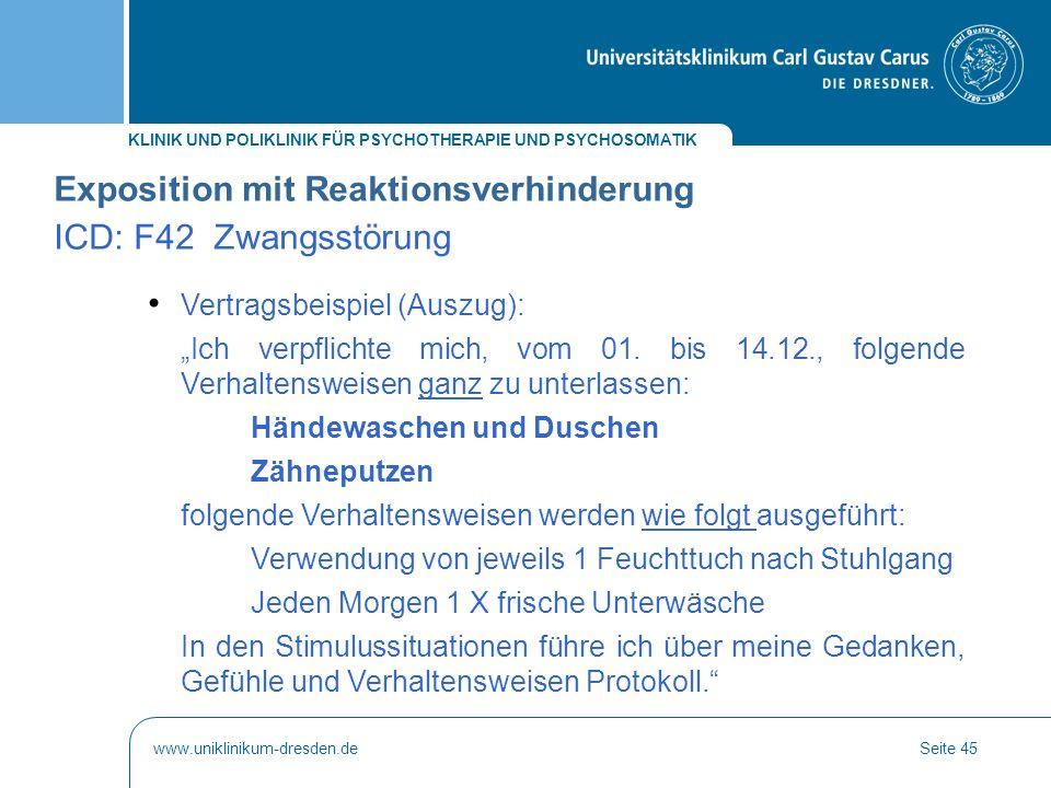 Exposition mit Reaktionsverhinderung ICD: F42 Zwangsstörung