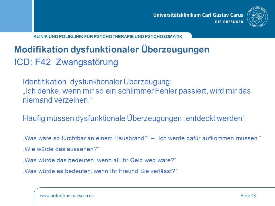 Modifikation dysfunktionaler Überzeugungen ICD: F42 Zwangsstörung