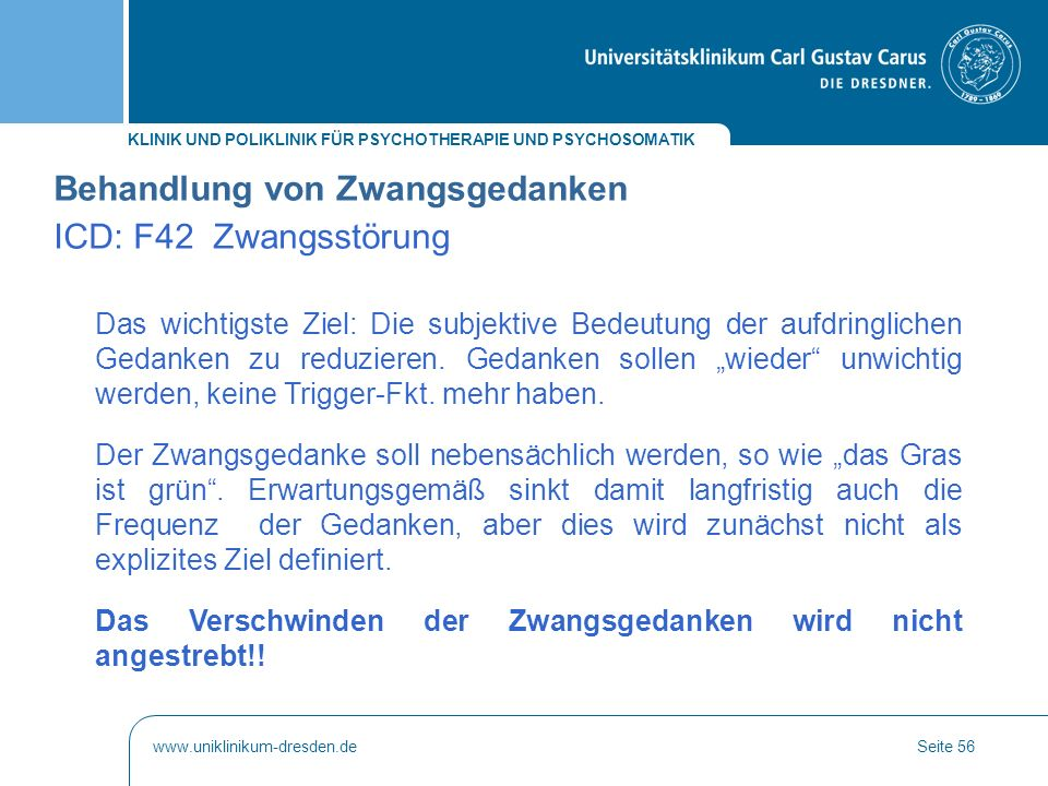 Behandlung von Zwangsgedanken ICD: F42 Zwangsstörung
