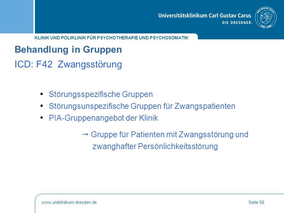 Behandlung in Gruppen ICD: F42 Zwangsstörung
