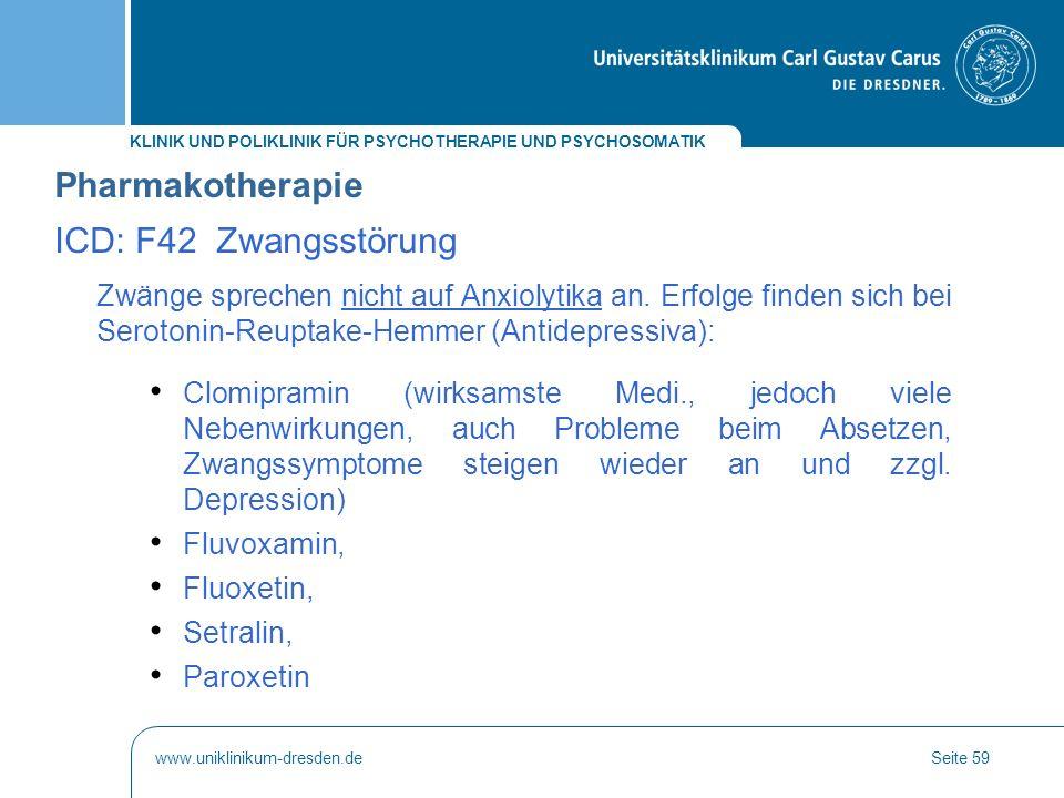 Pharmakotherapie ICD: F42 Zwangsstörung