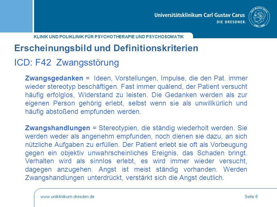 Erscheinungsbild und Definitionskriterien ICD: F42 Zwangsstörung