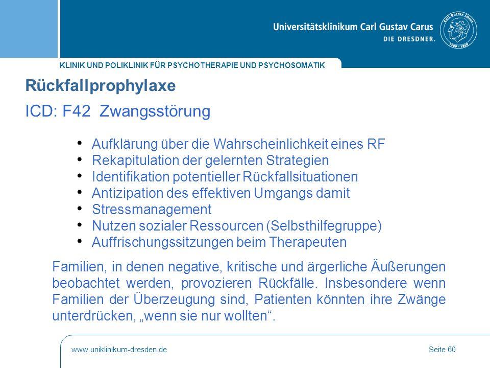Rückfallprophylaxe ICD: F42 Zwangsstörung