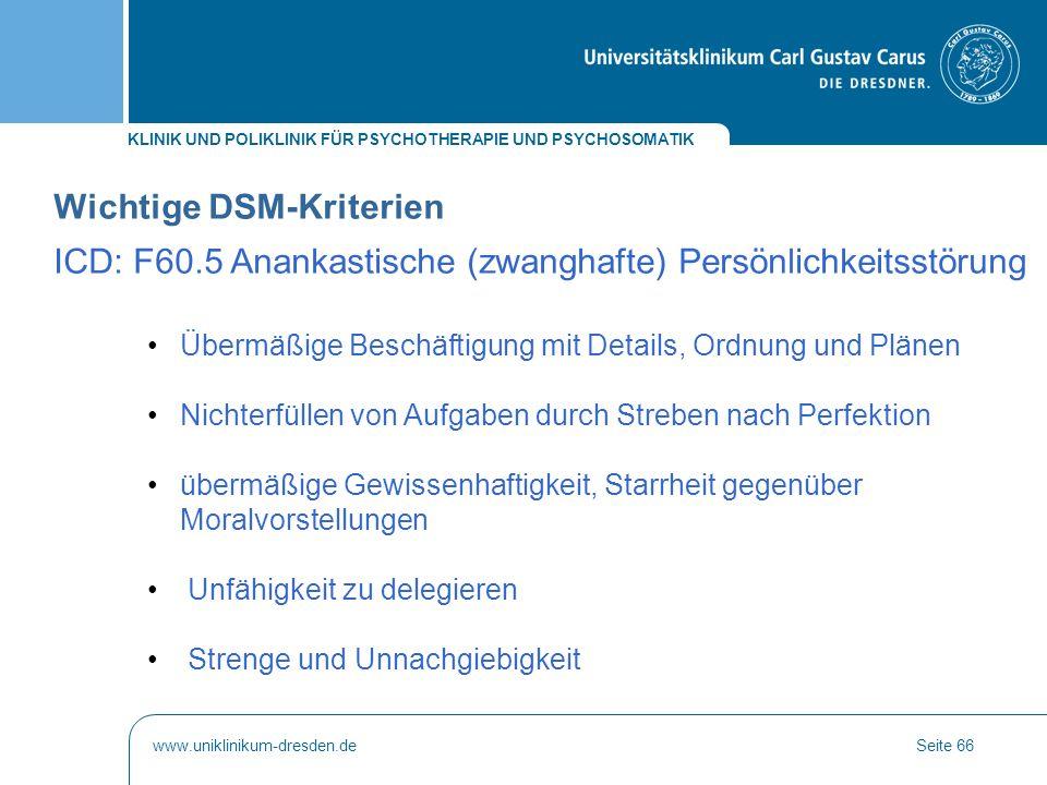 Wichtige DSM-Kriterien