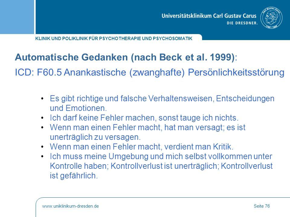 Automatische Gedanken (nach Beck et al. 1999):