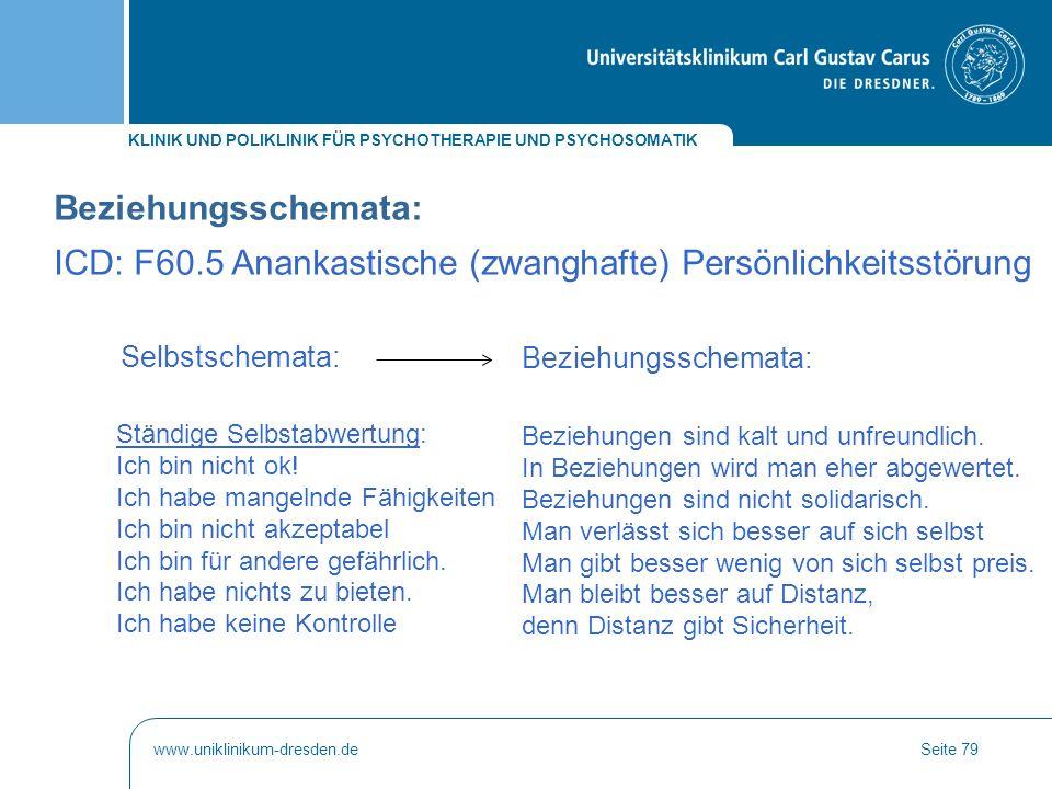 ICD: F60.5 Anankastische (zwanghafte) Persönlichkeitsstörung