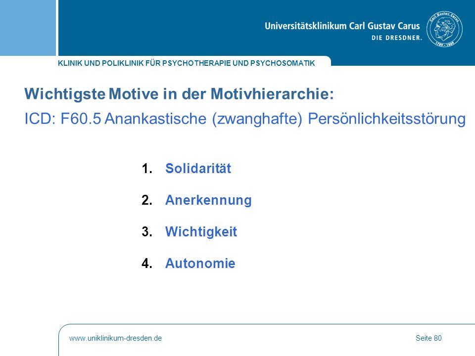 Wichtigste Motive in der Motivhierarchie: