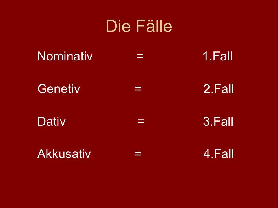 Die Fälle Nominativ = 1.Fall Genetiv = 2.Fall Dativ = 3.Fall