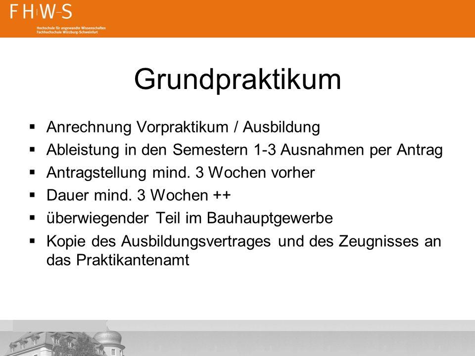 Grundpraktikum Anrechnung Vorpraktikum / Ausbildung