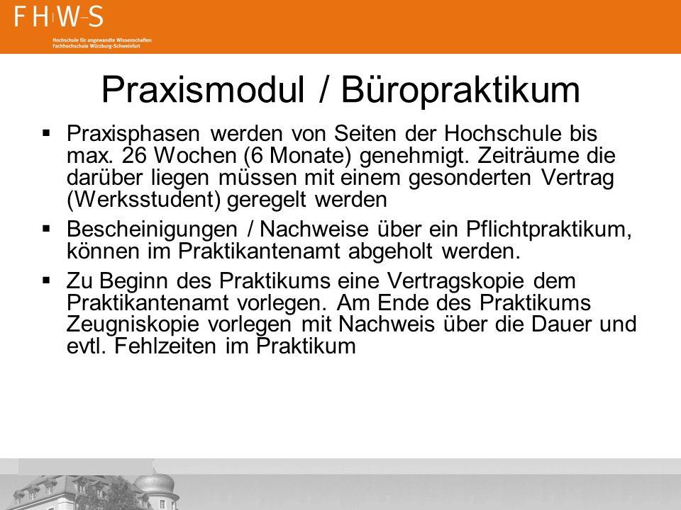 Praxismodul / Büropraktikum