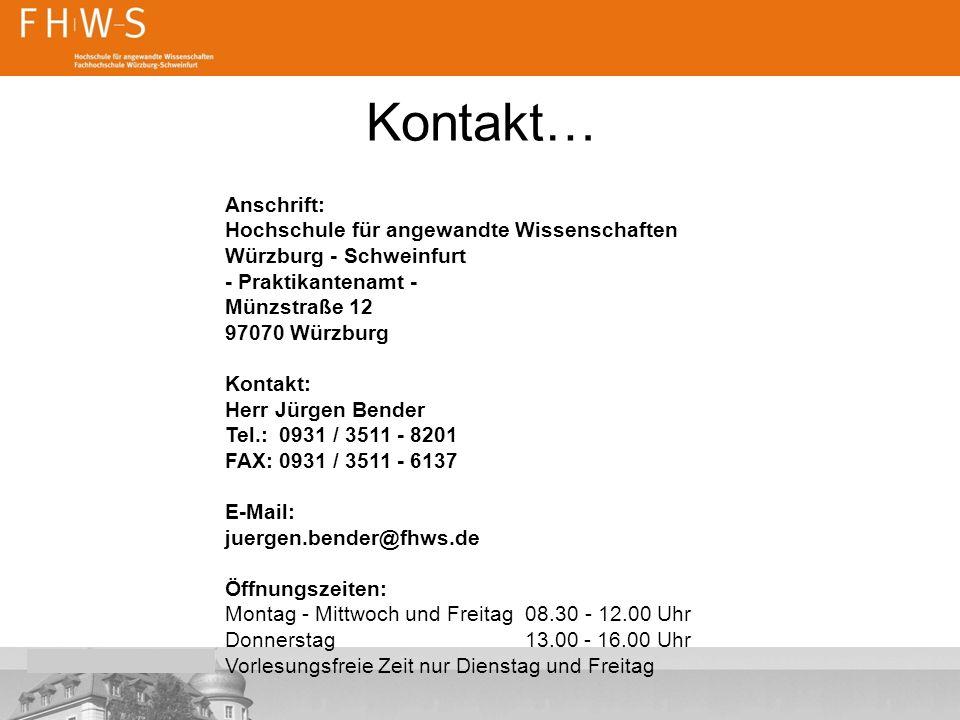 Kontakt… Anschrift: Hochschule für angewandte Wissenschaften
