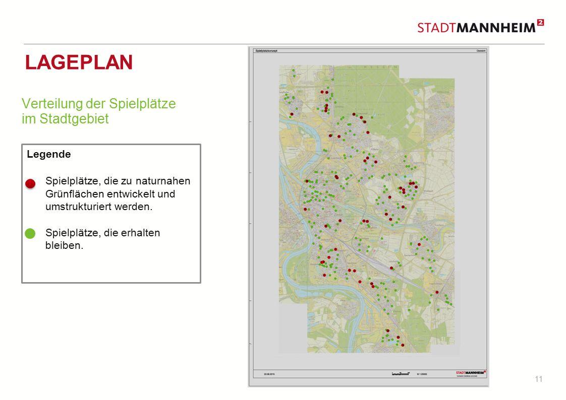 Lageplan Verteilung der Spielplätze im Stadtgebiet Legende