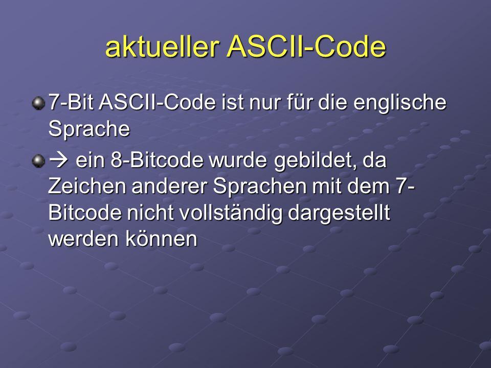 aktueller ASCII-Code 7-Bit ASCII-Code ist nur für die englische Sprache.