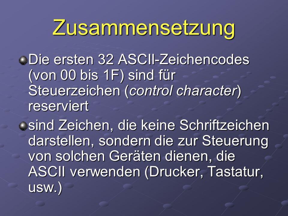 Zusammensetzung Die ersten 32 ASCII-Zeichencodes (von 00 bis 1F) sind für Steuerzeichen (control character) reserviert.
