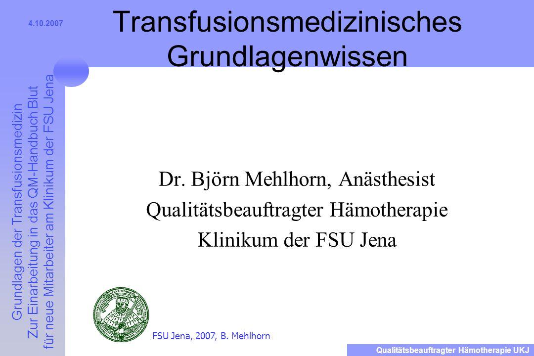 Transfusionsmedizinisches Grundlagenwissen