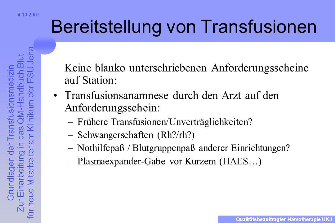 Bereitstellung von Transfusionen
