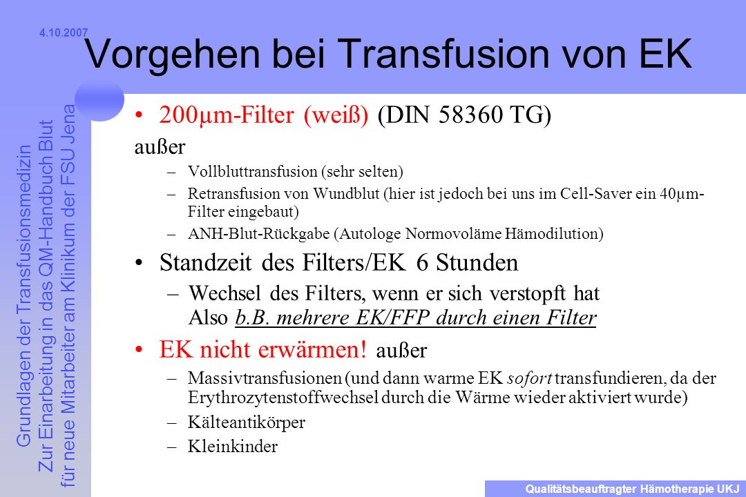 Vorgehen bei Transfusion von EK