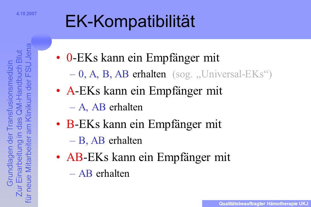 EK-Kompatibilität 0-EKs kann ein Empfänger mit