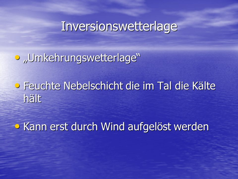 Inversionswetterlage