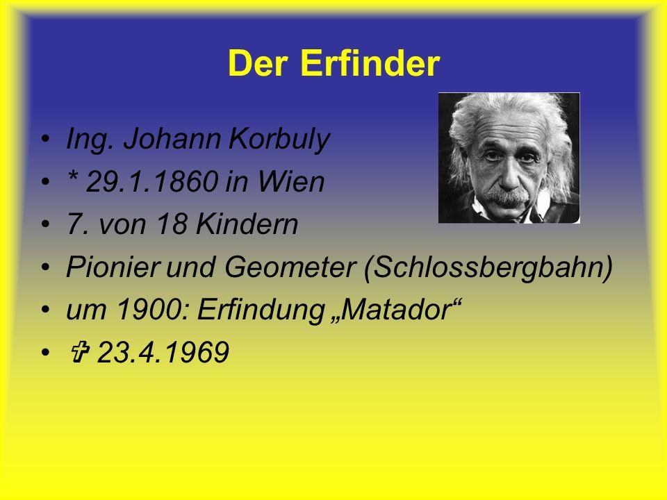 Der Erfinder Ing. Johann Korbuly * 29.1.1860 in Wien 7. von 18 Kindern