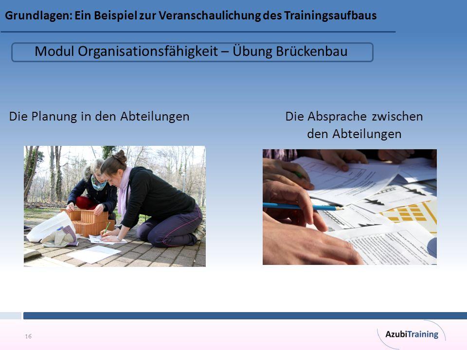 Modul Organisationsfähigkeit – Übung Brückenbau