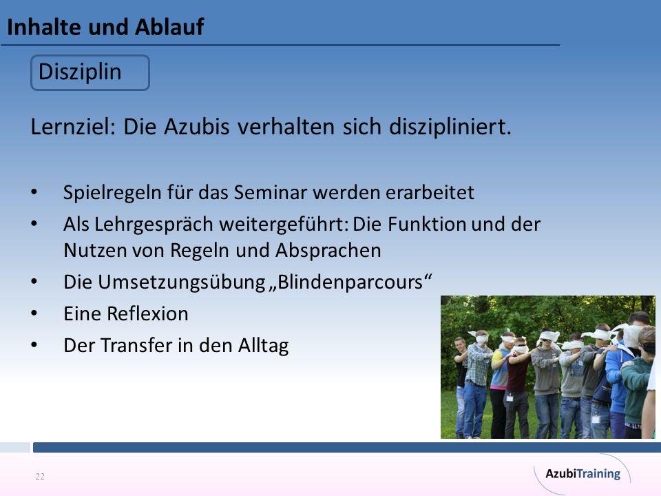 Lernziel: Die Azubis verhalten sich diszipliniert.