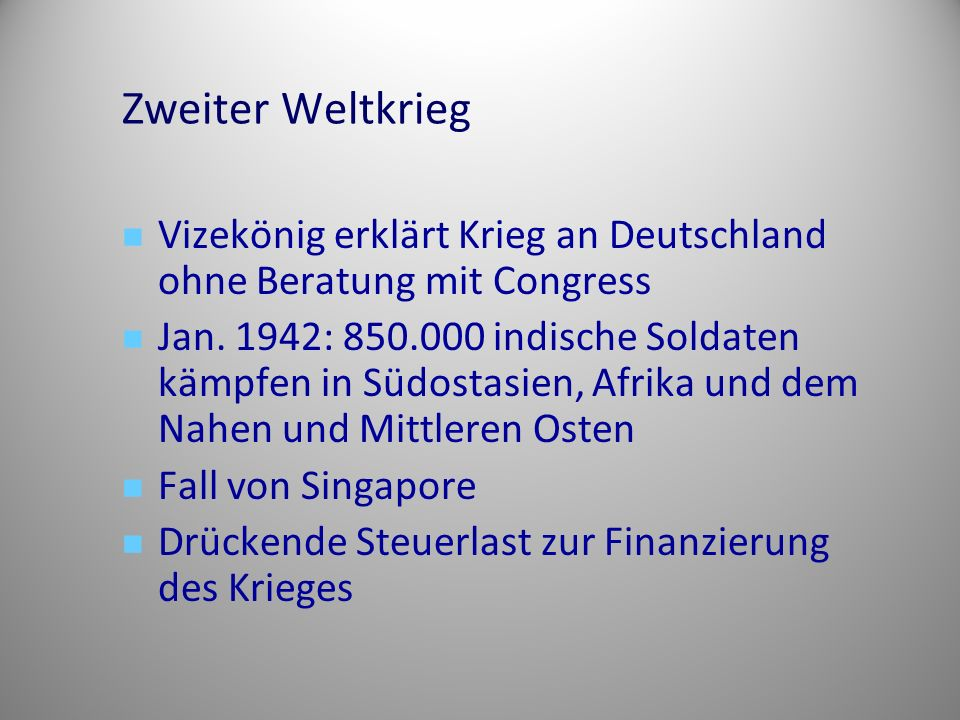 Zweiter Weltkrieg Vizekönig erklärt Krieg an Deutschland ohne Beratung mit Congress.