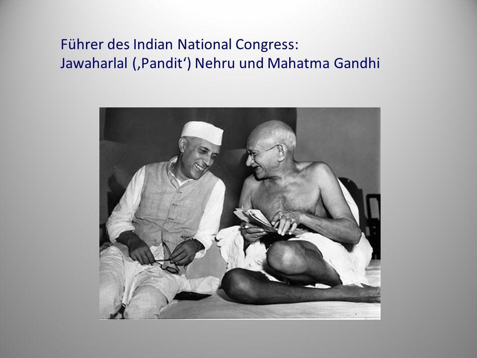 Führer des Indian National Congress: Jawaharlal ('Pandit') Nehru und Mahatma Gandhi