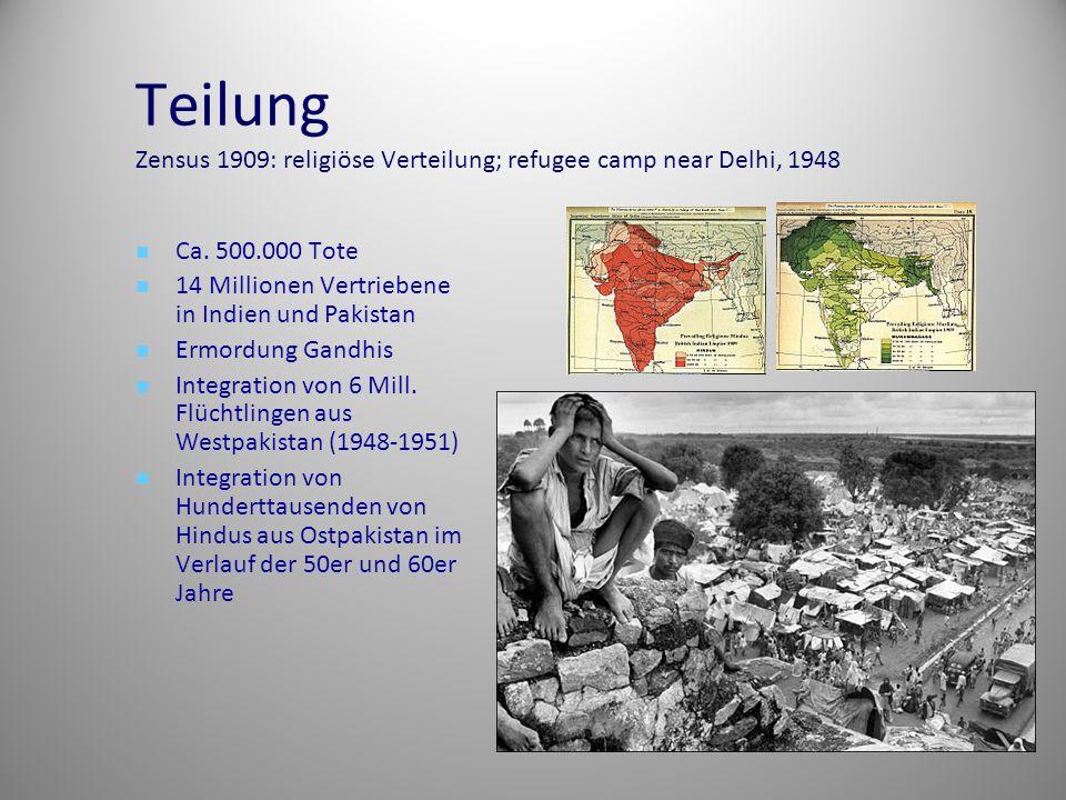 Teilung Zensus 1909: religiöse Verteilung; refugee camp near Delhi, 1948