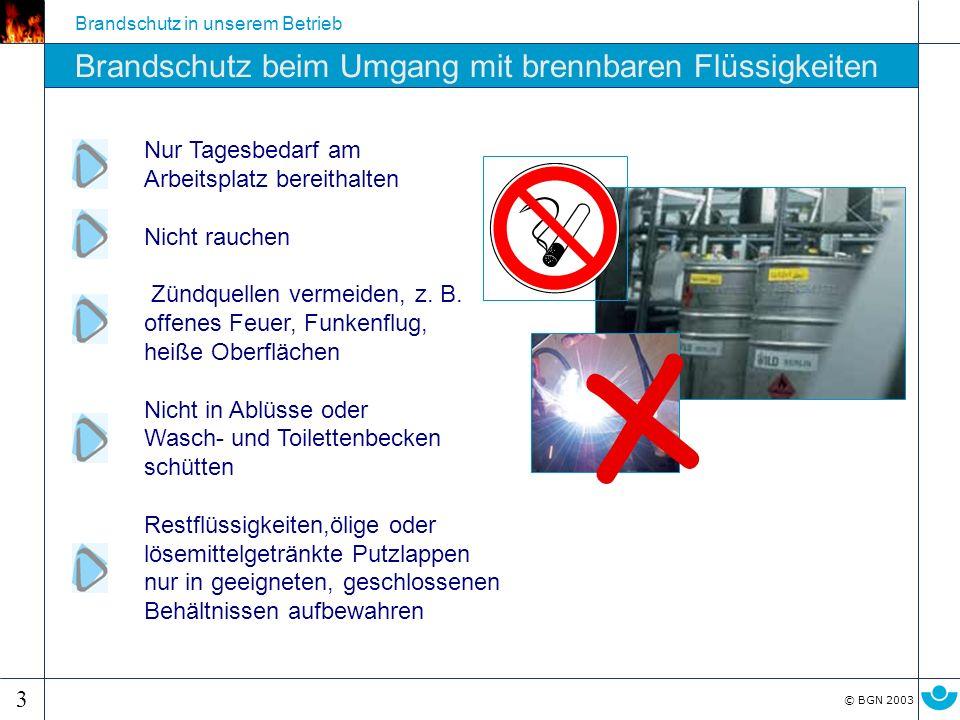 x Brandschutz beim Umgang mit brennbaren Flüssigkeiten