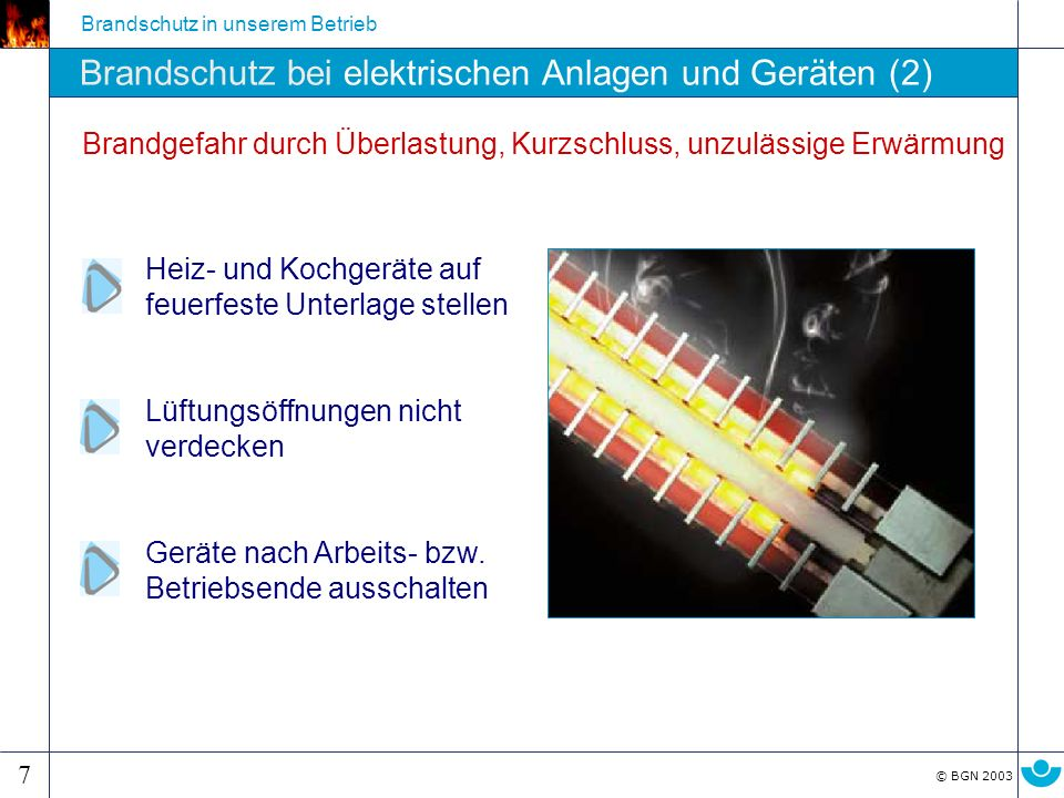 Brandschutz bei elektrischen Anlagen und Geräten (2)