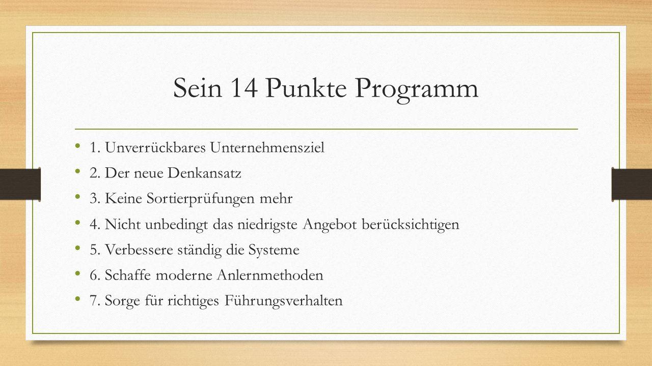 Sein 14 Punkte Programm 1. Unverrückbares Unternehmensziel