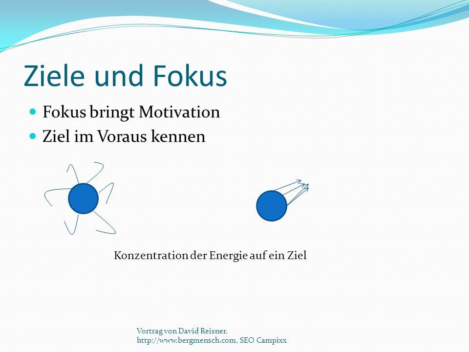 Ziele und Fokus Fokus bringt Motivation Ziel im Voraus kennen