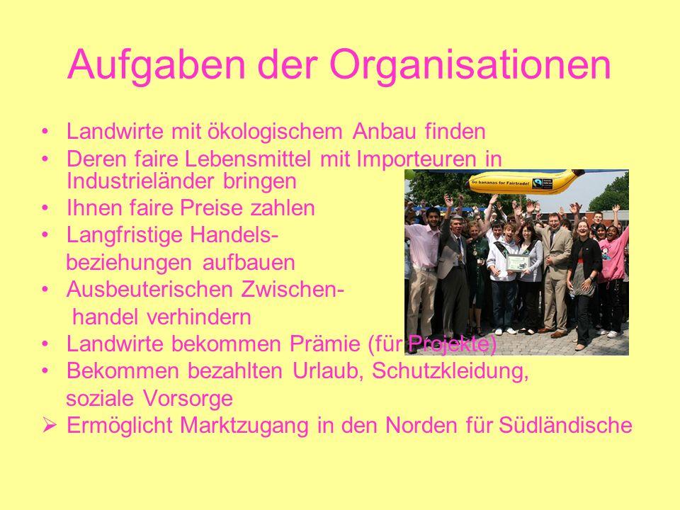 Aufgaben der Organisationen