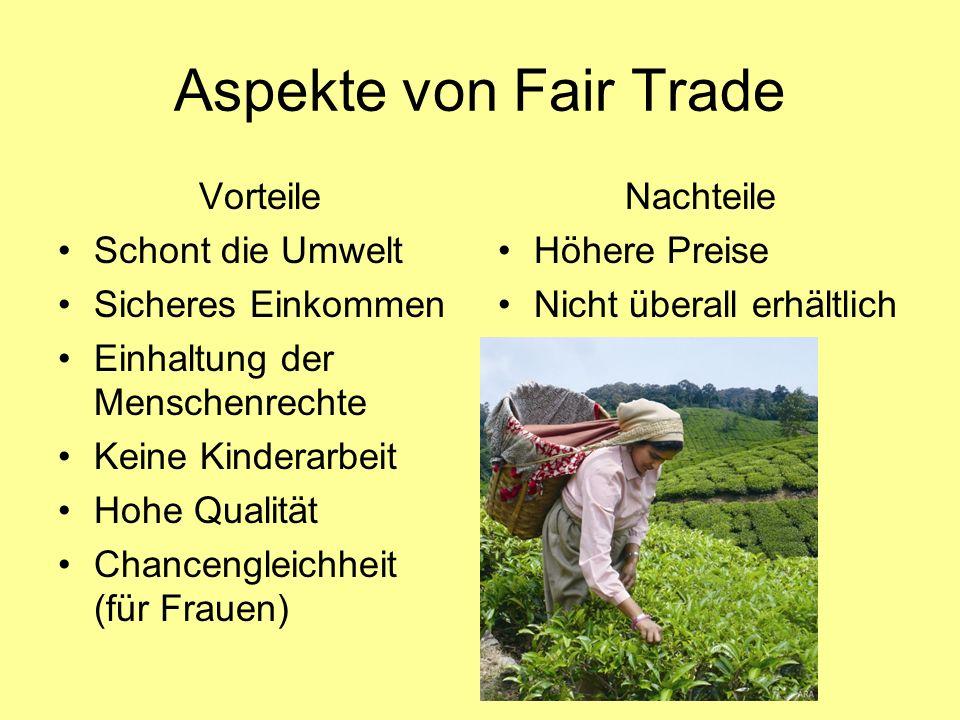 Aspekte von Fair Trade Vorteile Schont die Umwelt Sicheres Einkommen
