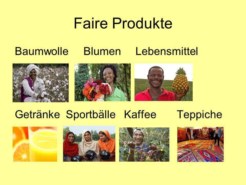 Faire Produkte Baumwolle Blumen Lebensmittel
