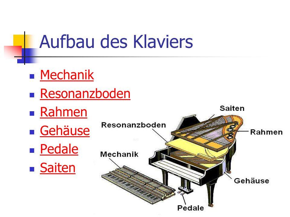 Aufbau des Klaviers Mechanik Resonanzboden Rahmen Gehäuse Pedale