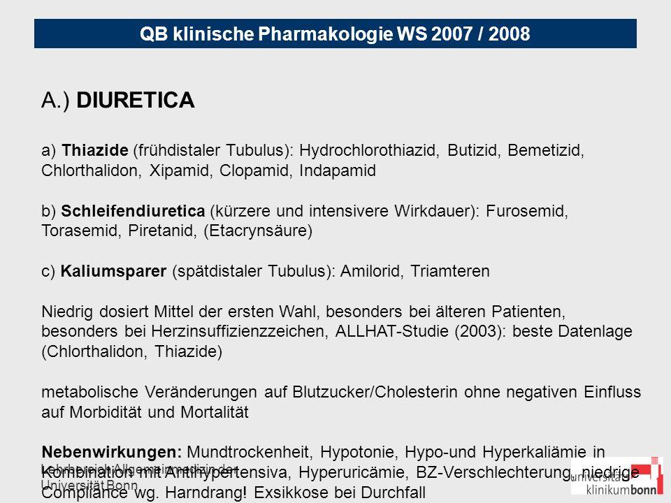 A.) DIURETICA a) Thiazide (frühdistaler Tubulus): Hydrochlorothiazid, Butizid, Bemetizid, Chlorthalidon, Xipamid, Clopamid, Indapamid.