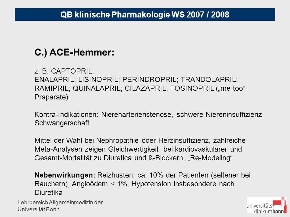 C.) ACE-Hemmer: z. B. CAPTOPRIL;