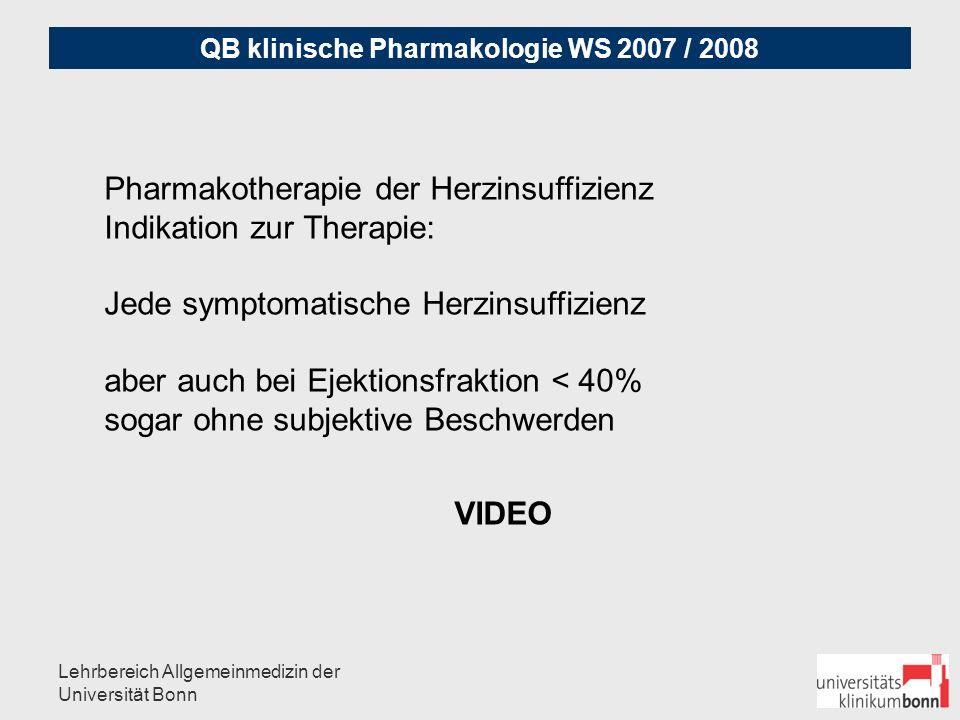 Pharmakotherapie der Herzinsuffizienz Indikation zur Therapie: