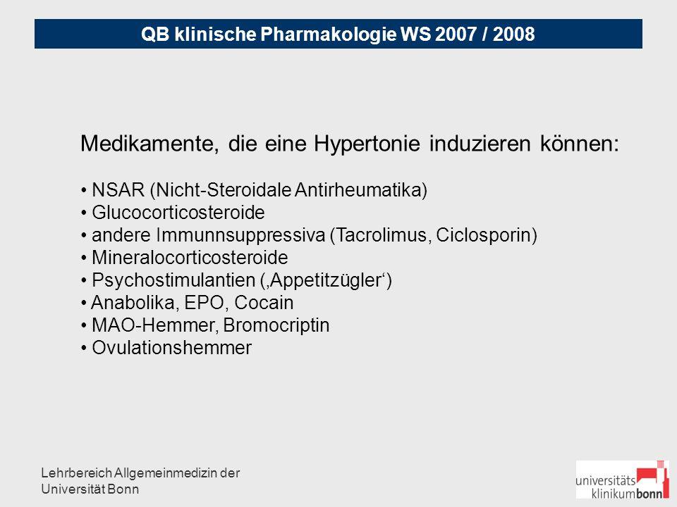 Medikamente, die eine Hypertonie induzieren können: